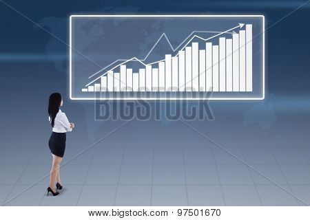 Businesswoman And Bar Chart On Blue World Map