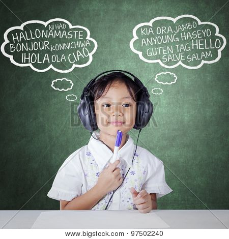 Student Studying Multi Language By Listening