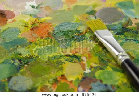 Paintbrush On Painting Palette