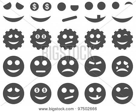 Tools, Gears, Smiles, Emoticons Flat Icon Set