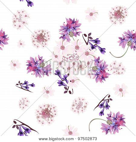 Floral Seamless Pattern With Tender  Pink And Purple Flowers