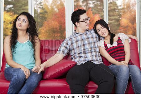 Unfaithful Man With Girlfriend And His Affair