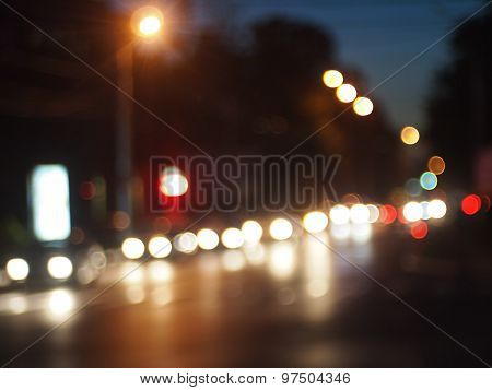 Defocused And Blur Of Night Scene