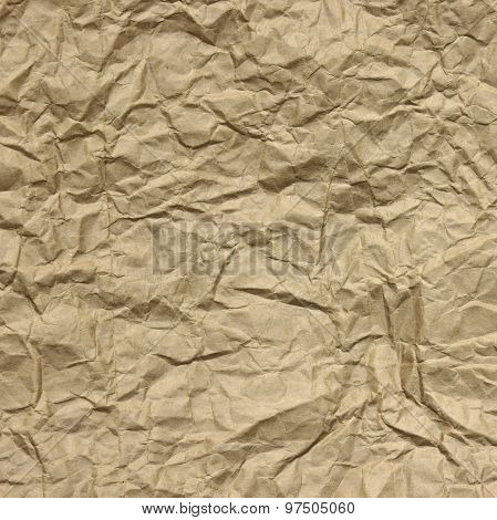 Close-up Of Rough Brown Wrinkled Packaging Paper Square Texture Background