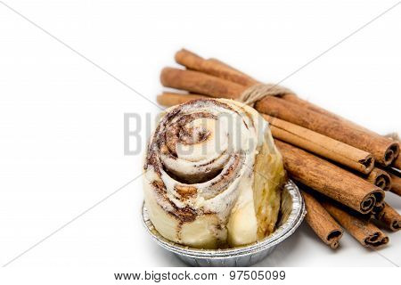 Mini Cinnamon Roll With Cinnamon Stick Roped Isolated