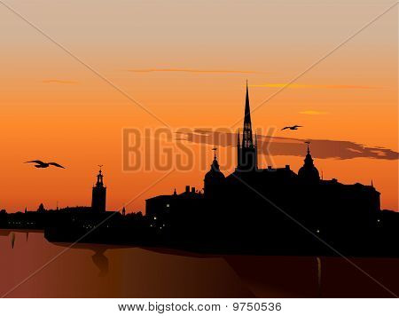 Silhouette Of Stockholm At Sunset