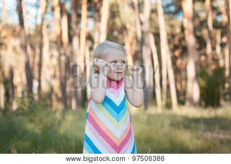 Child Blonde In The Forest