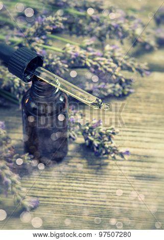 Perfumed Herbal Oil Essence And Dreied Lavender Flowers. Selective Focus Bokeh