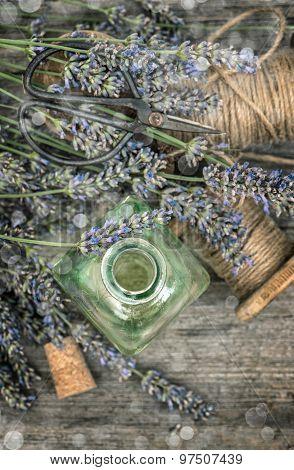 Herbal Oil Essence And Dreied Lavender Flowers. Vintage Still Life