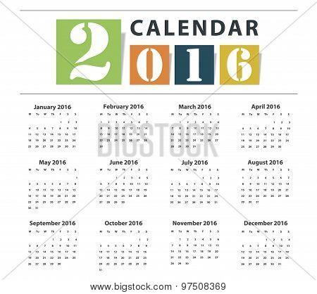 Calendar 2016 Vector Earthtone Design