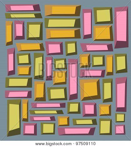 Irregular Tile Pattern Frames In Green Orange Pink Over Gray