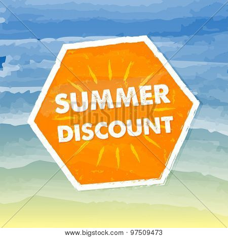 Summer Discount In Orange Label Over Sea Background