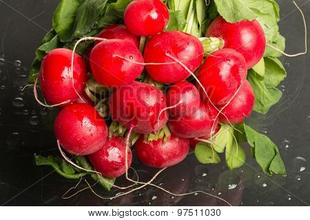 Bundle Of Red Radishes On Display, Full