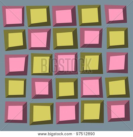Irregular Tile Pattern Frames In Green Pink Over Gray