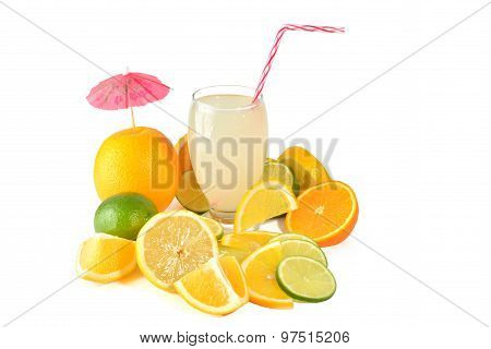 Fresh orange fruit isolated on white background