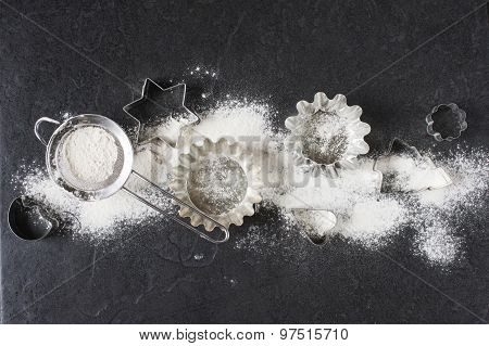 Baking Cups And Flour On The Table