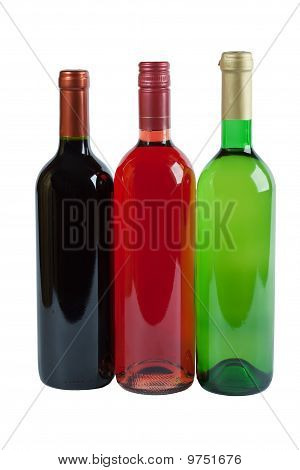 Bottles Of Red, Pink And White Wine
