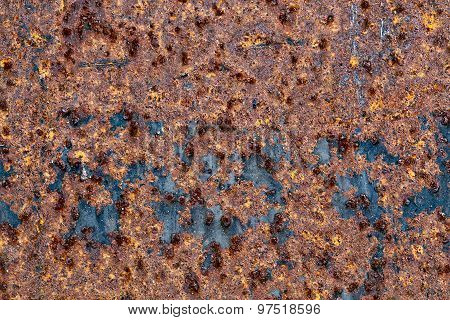 Corrosion Of A Metal Surface. Rust On A Steel Sheet