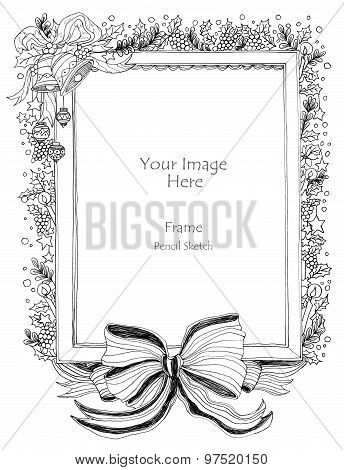 Christmas Frame And Big Bow Art Line