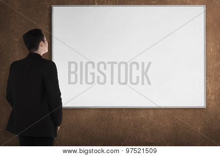 Back View Young Man With White Board