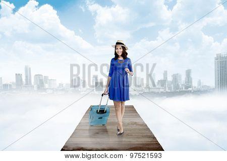 Asian Woman Walking On The Wooden Pier