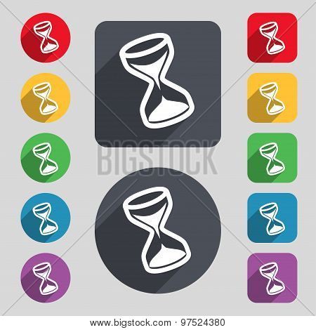 Hourglass Icon Sign. A Set Of 12 Colored Buttons And A Long Shadow. Flat Design. Vector