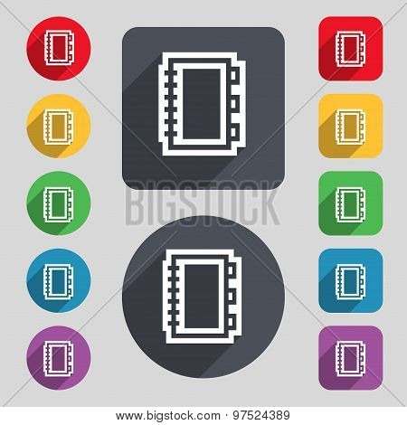 Book Icon Sign. A Set Of 12 Colored Buttons And A Long Shadow. Flat Design. Vector