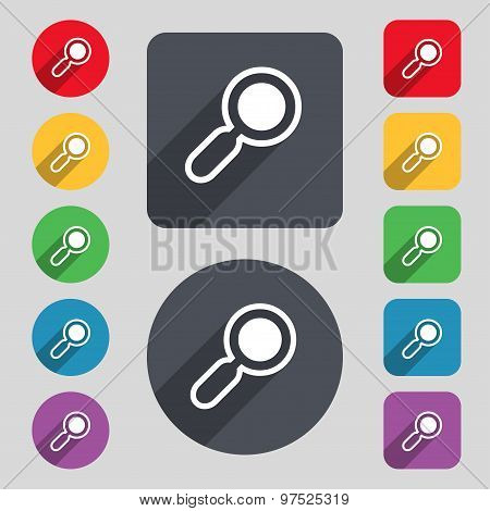 Magnifying Glass, Zoom Icon Sign. A Set Of 12 Colored Buttons And A Long Shadow. Flat Design. Vector