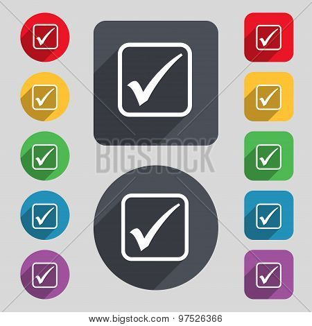A Check Mark Icon Sign. A Set Of 12 Colored Buttons And A Long Shadow. Flat Design. Vector