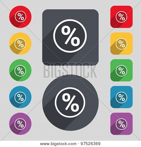 Percentage Discount Icon Sign. A Set Of 12 Colored Buttons And A Long Shadow. Flat Design. Vector
