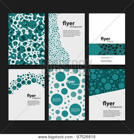 Set of Creative Card, Flyer or Cover Designs with Dotted Pattern Backgrounds
