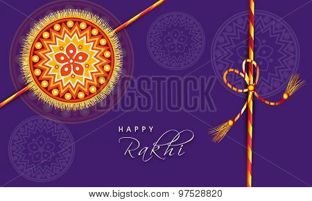 Beautiful floral design decorated rakhi on purple background, Elegant greeting card for Indian festival, Happy Raksha Bandhan celebration.