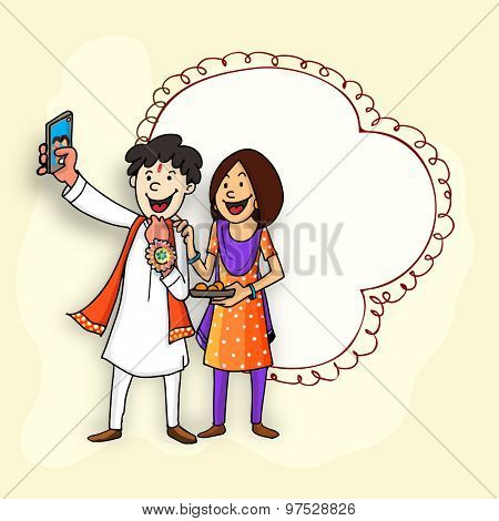 Time to take selfie, Happy brother and sister enjoying and celebrating Raksha Bandhan festival, with illustration of a blank frame for your message.