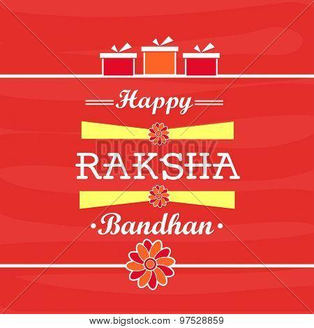 Elegant greeting card design for Indian festival of brother and sister love, Happy Raksha Bandhan celebration.