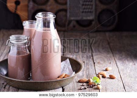 Homemade almond chocolate milk