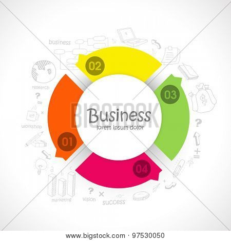 Colorful pie chart with various infographic elements on shiny background for business reports and presentation.