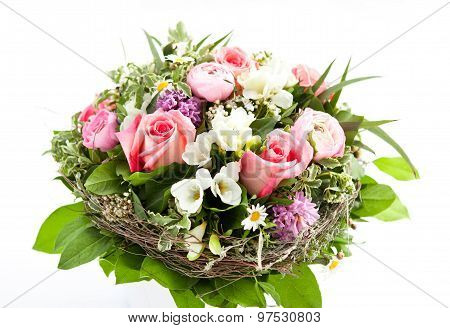 Colorful Flower Bouquet On White