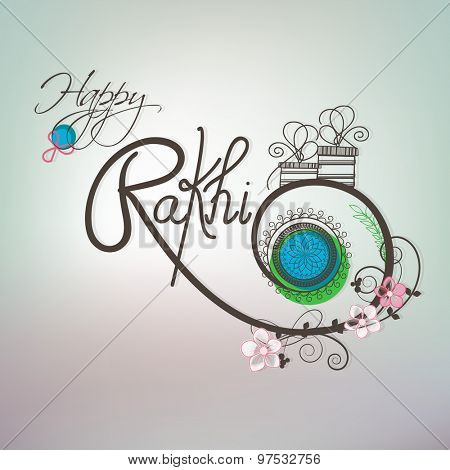 Beautiful floral design decorated greeting card with gifts on shiny background for Happy Raksha Bandhan celebration.