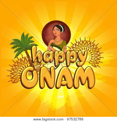 Greeting card design with young beautiful woman on floral design decorated yellow background for South Indian festival, Happy Onam celebration.