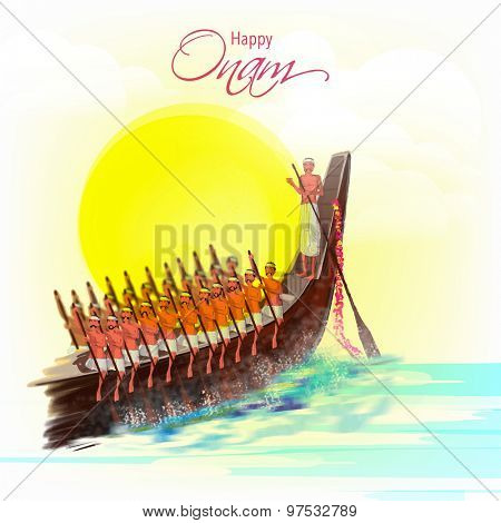 Illustration of snake boat with oarsman at river for South Indian festival, Happy Onam celebration.