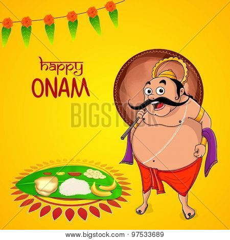 Greeting card design with illustration of King Mahabali and traditional food on banana leaf for South Indian festival, Happy Onam celebration,