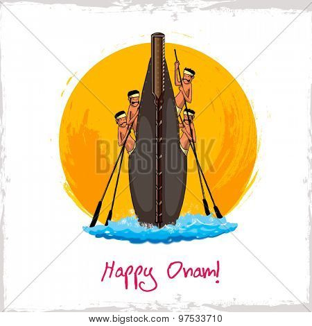Illustration of snake boat with oarsman for South Indian festival, Happy Onam celebration.