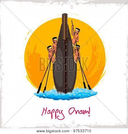 Illustration of snake boat with oarsman for South Indian festival, Happy Onam celebration.