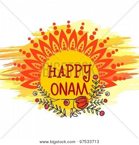 Beautiful floral design decorated greeting card for South Indian festival, Happy Onam celebration.
