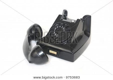 Black Telephone With Receiver Off