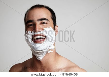 Laughing Man With A Shave Foam