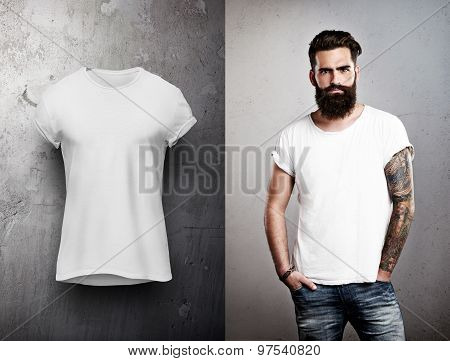 Man and white tshirt on grey background