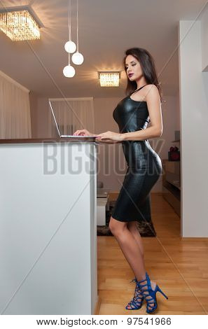 Perfect body woman in short tight fit leather dress working on the laptop in living room. Side view