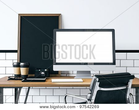 Mock up of generic computer. 3d rendering