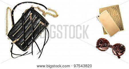 Fashion Mock Up With Business Lady Accessories. Feminine Objects
